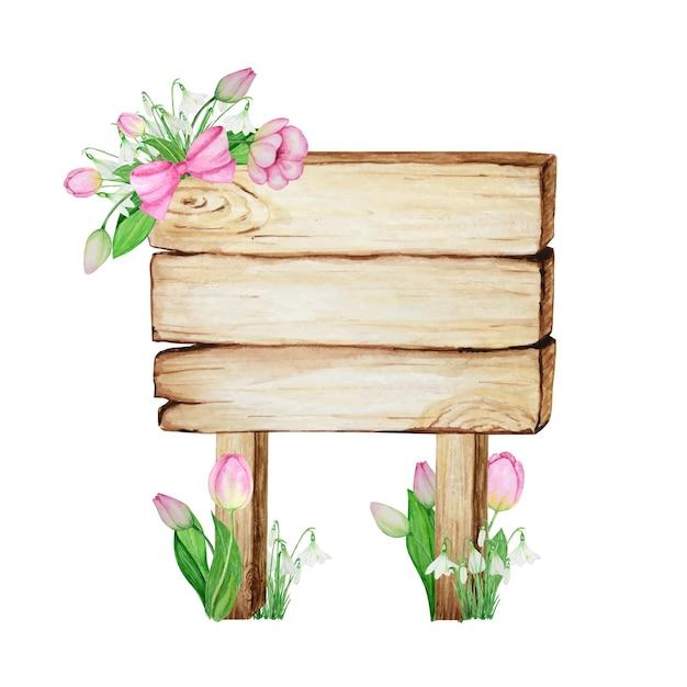 Insegne di legno dell'acquerello, vuoto vuoto isolato con decorazione di fiori di primavera. Vettore Premium