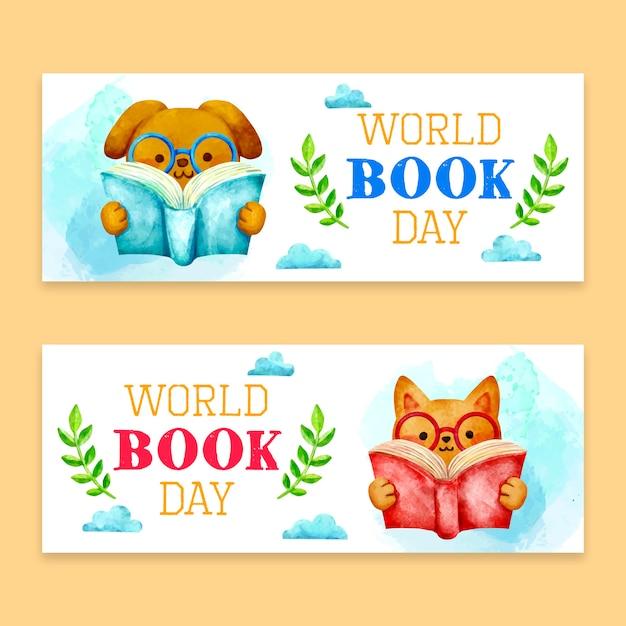 Bandiere di giorno del libro del mondo dell'acquerello Vettore Premium