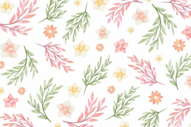 Sfondo acquerello con fiori e foglie Vettore Premium