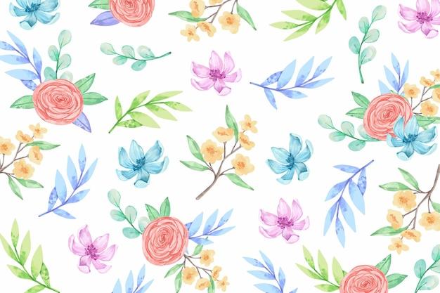 Sfondo acquerello con fiori Vettore Premium