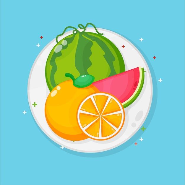 Anguria e arance su un piatto Vettore Premium
