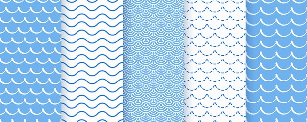 Modello senza saldatura onda. texture ondulate blu. stampe geometriche marine. Vettore Premium