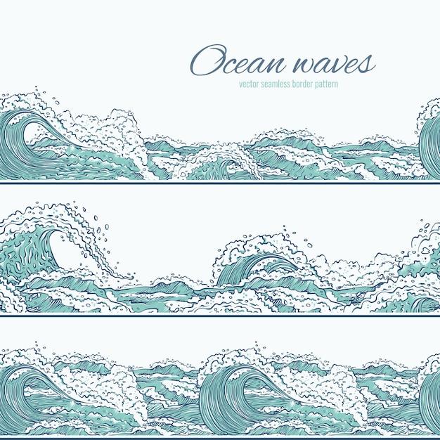 Onde mare oceano seamless pattern confine. grandi e piccoli scoppi azzurri spruzzano schiuma e bolle. illustrazione di schizzo set di contorno Vettore Premium