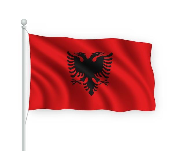 Sventolando bandiera albania sul pennone isolato su bianco Vettore Premium