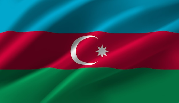 Sventolando la bandiera dell'azerbaigian. sventolando la bandiera dell'azerbaigian astratto Vettore Premium