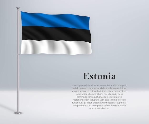 Sventolando la bandiera dell'estonia sul pennone Vettore Premium