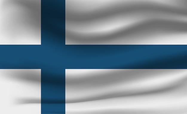 Sventolando la bandiera della finlandia. sventolando la bandiera della finlandia sfondo astratto Vettore Premium