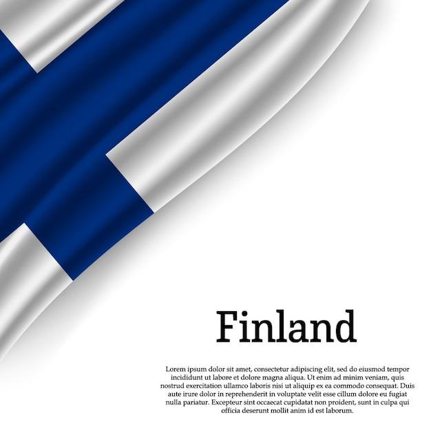 Sventolando la bandiera della finlandia su bianco Vettore Premium