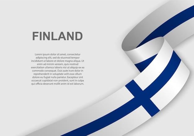 Sventolando la bandiera della finlandia. Vettore Premium