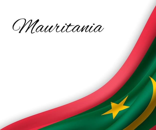 Sventolando la bandiera della mauritania su priorità bassa bianca. Vettore Premium