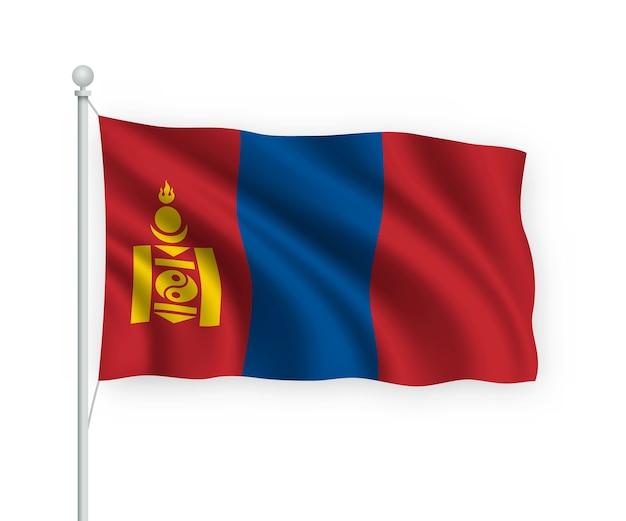 Sventolando bandiera mongolia sul pennone isolato su bianco Vettore Premium