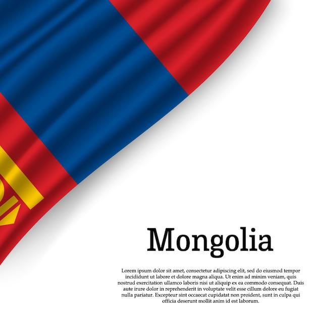 Sventolando la bandiera della mongolia su bianco Vettore Premium
