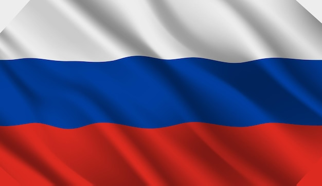 Sventolando la bandiera della russia. sventolando la bandiera della russia sfondo astratto Vettore Premium