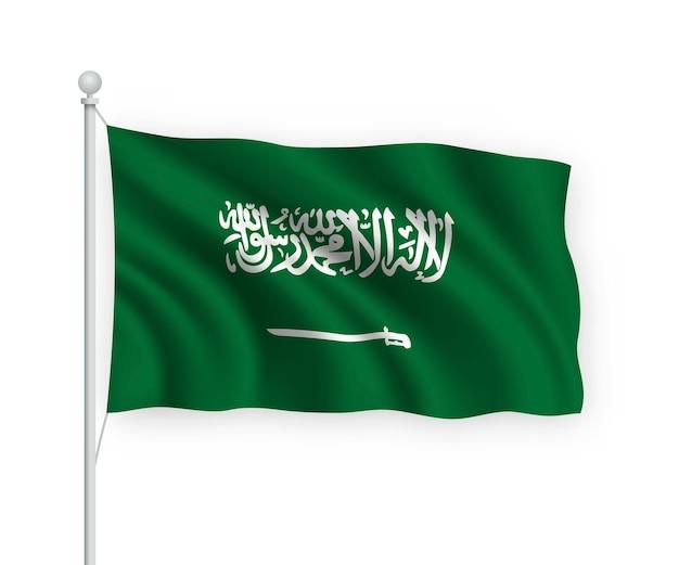 Sventolando bandiera arabia saudita sul pennone isolato su bianco Vettore Premium