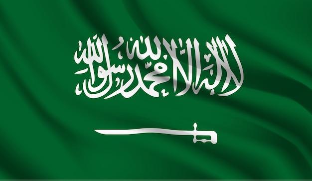 Sventolando la bandiera dell'arabia saudita. sventolando la bandiera dell'arabia saudita astratto Vettore Premium