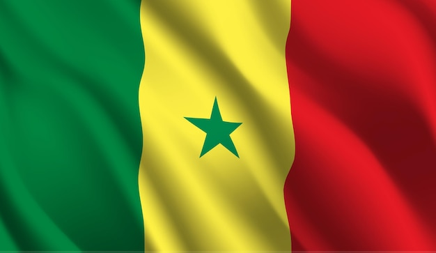 Sventolando la bandiera del senegal. sventolando la bandiera del senegal astratto Vettore Premium