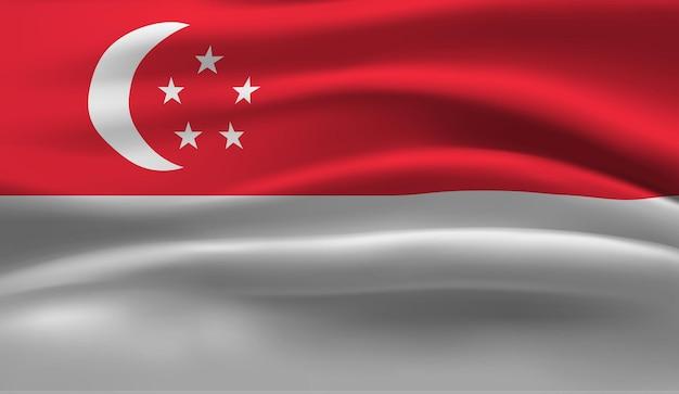 Sventolando la bandiera di singapore. sventolando la bandiera di singapore sfondo astratto Vettore Premium