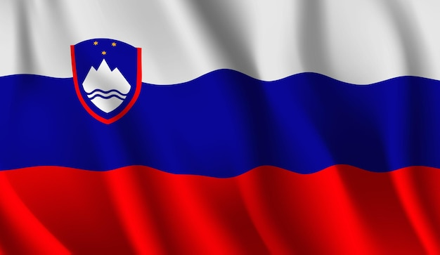 Sventolando la bandiera della slovenia. sventolando la bandiera della slovenia sfondo astratto Vettore Premium