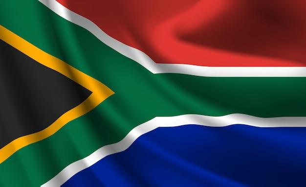 Sventolando la bandiera del sud africa. sventolando la bandiera del sud africa astratto Vettore Premium