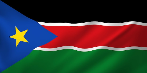 Sventolando la bandiera del sud sudan. sventolando la bandiera del sud sudan astratto Vettore Premium