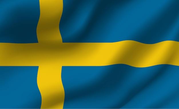 Sventolando la bandiera della svezia. sventolando la bandiera della svezia sfondo astratto Vettore Premium