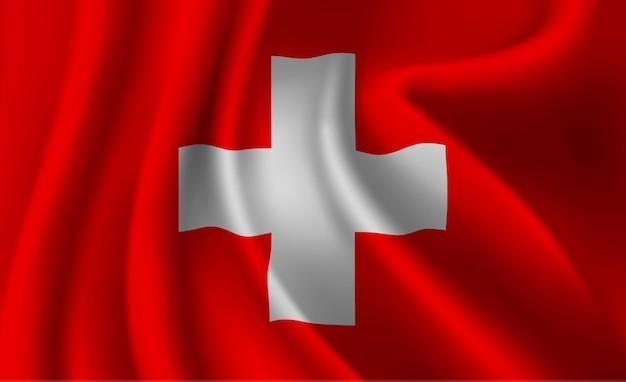 Sventolando la bandiera della svizzera. sventolando la bandiera svizzera sfondo astratto Vettore Premium