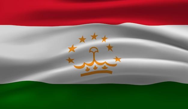 Sventolando la bandiera del tagikistan sventolando la bandiera del tagikistan astratto Vettore Premium