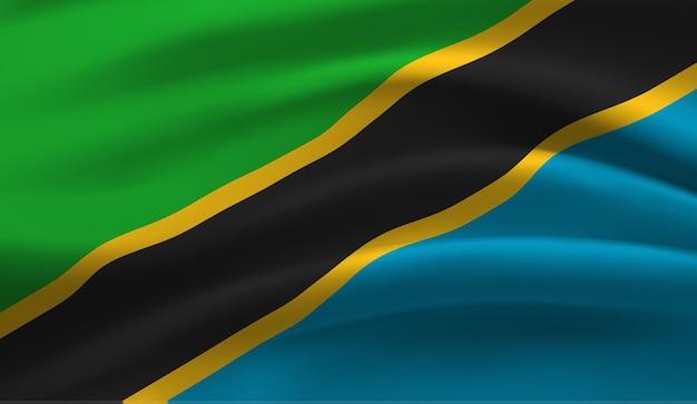 Sventolando la bandiera della tanzania sventolando la bandiera della tanzania sfondo astratto Vettore Premium