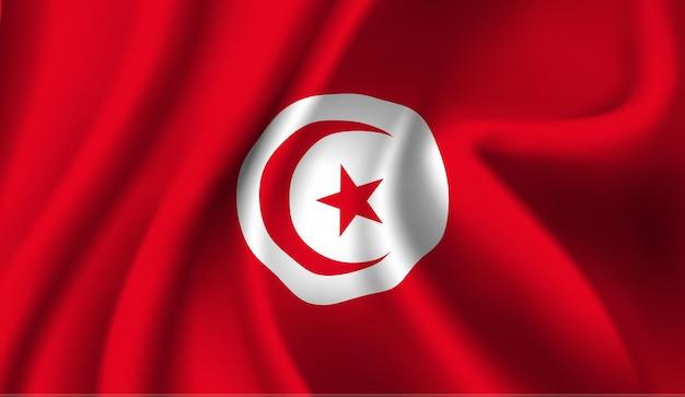 Sventolando la bandiera della tunisia. sventolando la bandiera della tunisia sfondo astratto Vettore Premium