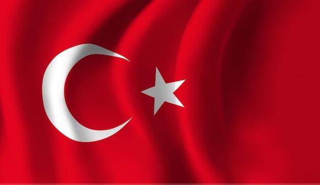 Sventolando la bandiera della turchia. sventolando la bandiera della turchia sfondo astratto Vettore Premium