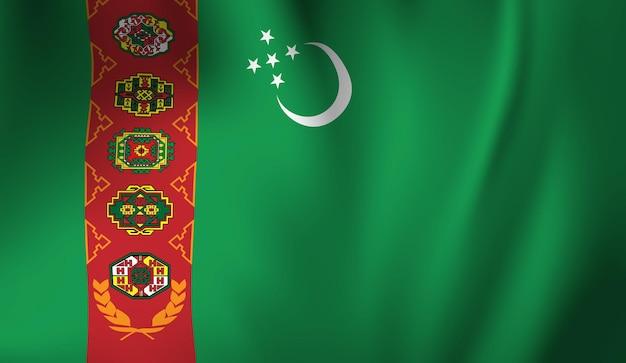 Sventolando la bandiera del turkmenistan. sventolando il fondo astratto della bandiera del turkmenistan Vettore Premium