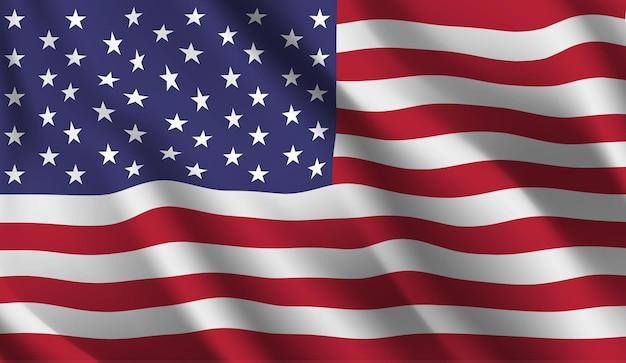 Sventolando la bandiera degli stati uniti sventolando la bandiera usa sfondo astratto Vettore Premium