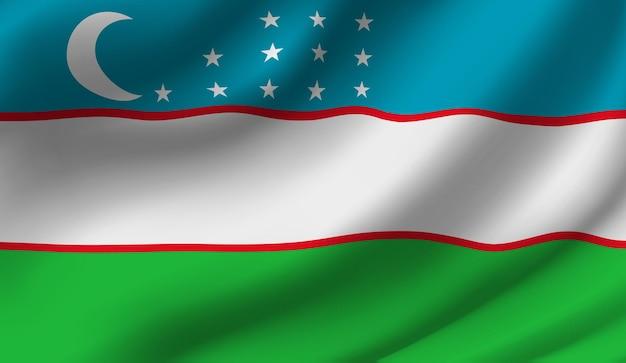 Sventolando la bandiera dell'uzbekistan sventolando la bandiera dell'uzbekistan astratto Vettore Premium