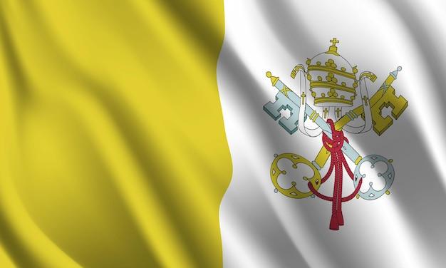 Sventolando la bandiera della città del vaticano. sventolando la città del vaticano bandiera sfondo astratto Vettore Premium