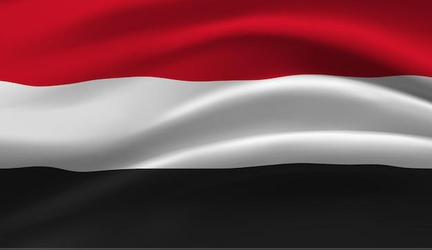Sventolando la bandiera dello yemen. sventolando la bandiera dello yemen sfondo astratto Vettore Premium