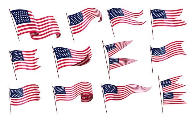 Sventolando bandiere. set di bandiere americane su sfondo bianco. bandiere nazionali sventolando simboli. Vettore Premium