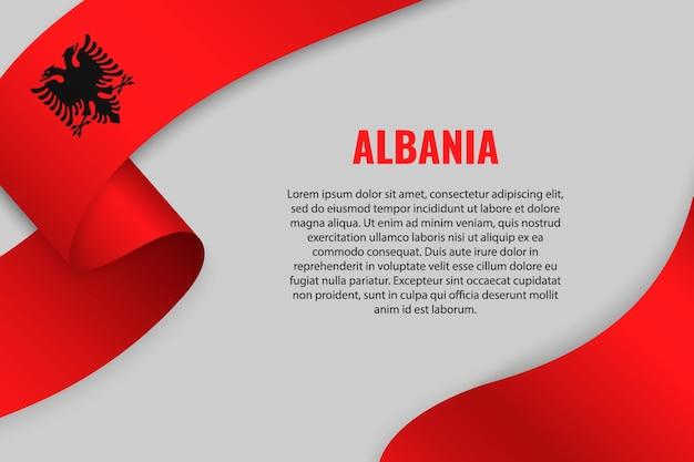 Sventolando in nastro o banner con la bandiera dell'albania. modello Vettore Premium