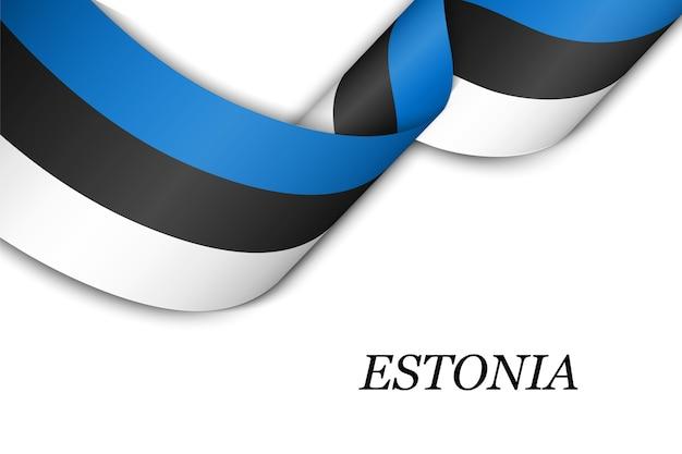 Sventolando in nastro o banner con bandiera dell'estonia. Vettore Premium
