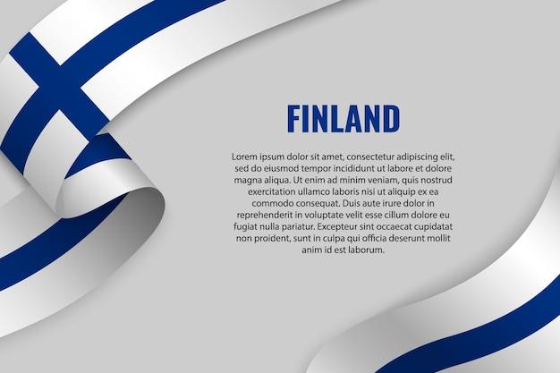 Sventolando in nastro o banner con bandiera della finlandia Vettore Premium