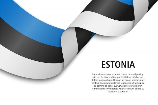 Sventolando nastro o banner con bandiera Vettore Premium