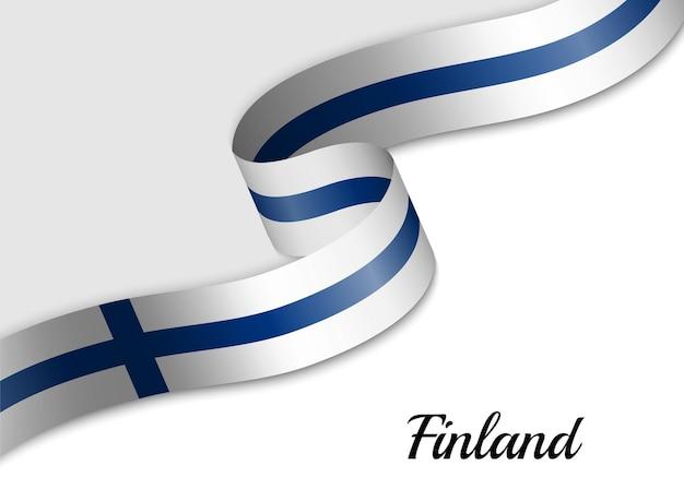 Sventolando la bandiera del nastro della finlandia Vettore Premium