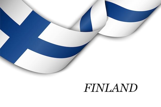 Sventolando il nastro con la bandiera della finlandia. Vettore Premium