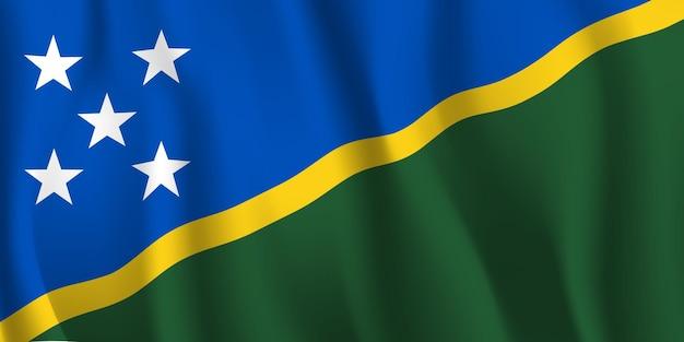 Sventolando la bandiera delle isole salomone astratto Vettore Premium