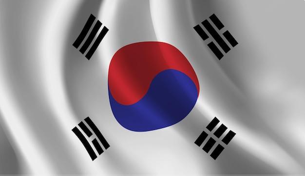 Sventolando la bandiera della corea del sud astratto Vettore Premium