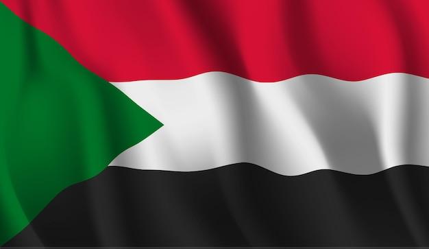 Sventolando la bandiera del sudan astratto Vettore Premium