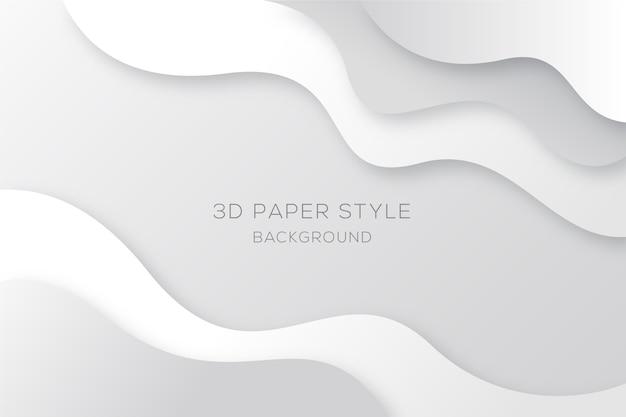 Sfondo bianco e grigio ondulato in stile carta Vettore Premium