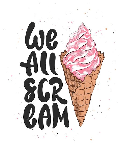 Tutti gridiamo con un gelato schizzo Vettore Premium