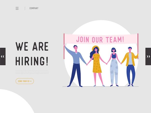 Stiamo assumendo il concetto di illustrazione, personaggi di persone di reclutamento di lavoro che tengono banner, per pagina di destinazione, modello di social media, interfaccia utente, web design, app mobile, poster, flyer Vettore Premium