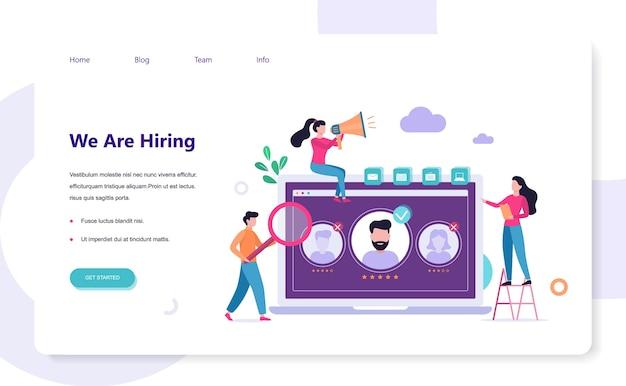 Stiamo assumendo. concetto di banner web di reclutamento. lavoro Vettore Premium