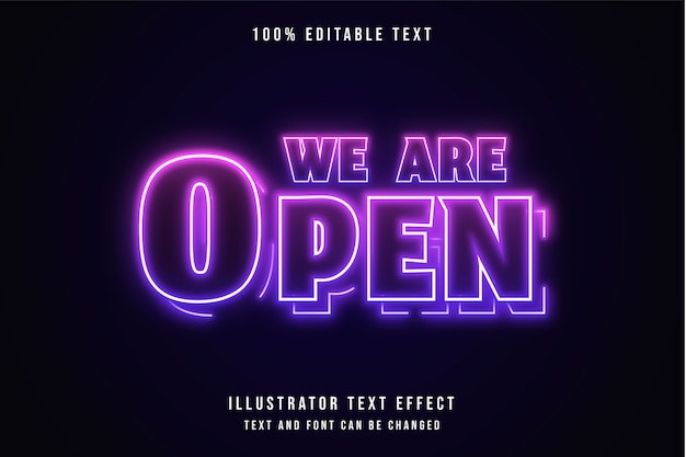 Siamo aperti, effetto neon viola con gradazione rosa effetto testo modificabile 3d Vettore Premium